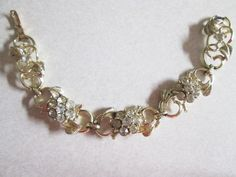 LIGHT yellow gold tone SPARKLY crystal rhinestones CORO floral link bracelet by vintagejewels4u on Etsy