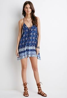 Lace-Up Diamond Print Dress | Forever 21 - 2000052694