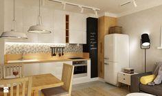 Mieszkanie na Woli Warszawa 54m2 - Mała otwarta kuchnia jednorzędowa w aneksie, styl skandynawski - zdjęcie od Grafika i Projekt architektura wnętrz