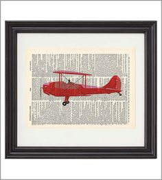Red Airplane Print on Vintage Dictionary Book. Maybe use a different picture on the dictionary page?