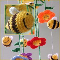 Bumblebee crochet baby mobile