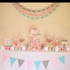LOVE THE PAPER CHAINS, BANNER, AND PAPER FLOWERS IN PINK< GREEN< YELLOW LIGHTER!