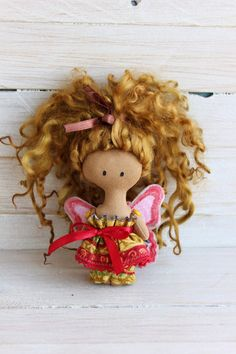 Cloth doll Doll red butterfly doll with dark skin by NatsDoll Girls Christmas Outfits, Red Butterfly, Polymer Clay Dolls, Fairy Dolls, Handmade Toys, Etsy Handmade, Gifts For Girls, Cute Gifts, Doll Clothes