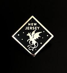 Jersey Devil Hard Enamel Pin, New Jersey, Cryptozoology Lapel Pin The Jersey Devil, New Jersey, Merit Badge, Cryptozoology, Pin And Patches, Hard Enamel Pin, Pin Badges, Lapel Pins, Cards
