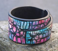 Bracelet Festival polymer clay and kroma crackle and alcohol ink | by Beadelz polymer crea's