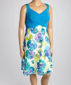 This Cobalt & Turquoise Floral Sleeveless Dress - Plus by Robbie Bee is perfect! #zulilyfinds