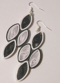 Medium Black and White handmade paper earrings Wearable Paper art Quilling Jewelry, Paper Jewelry, Paper Earrings, Drop Earrings, Black And White Earrings, Paper Art, Jewlery, Beads, Originals