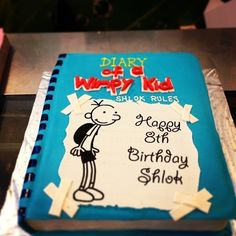Diary of a Wimpy Kid book cake by Cakes and Cupcakes Mumbai Pretty Cakes, Cute Cakes, Beautiful Cakes, Amazing Cakes, Yummy Cakes, Crazy Cakes, Fancy Cakes, Book Cakes, Wimpy Kid