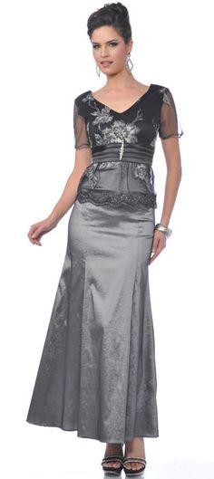 Elegant Charcoal V Neck Mother of Bride or Groom Formal Dress