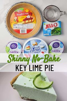 This No-Bake Skinny Key Lime Pie is easy to make and much lower in calories than traditional key lime pie! This pie makes a delicious and satisfying lime dessert! Low Calorie Desserts, Ww Desserts, Sugar Free Desserts, Sugar Free Recipes, Ww Recipes, Delicious Desserts, Cooking Recipes, Yummy Food, Recipes