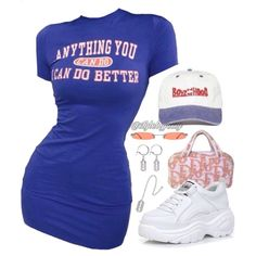Get this cute dress and those sneakers from Cute Swag Outfits, Edgy Outfits, Retro Outfits, Girl Outfits, Kpop Fashion Outfits, Polyvore Outfits, Look Fashion, Aesthetic Clothes, Cute Dresses