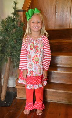 Christmas Paisley Dress and Ruffle Legging Set