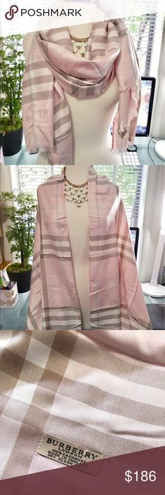 Beautiful Burberry cashmere pink scarf wrap Brand new without tags. 100% cashmere! Super soft and comfy! Very pretty pink combination! Burberry Accessories Scarves & Wraps