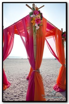 Tropical Pink & Orange Bamboo Canopy for Beach Wedding