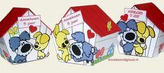 ^-^ DIRECT DOWNLOADEN ^-^ Schattig lief traktatie van Woezel en Pip! De hondenhok van Woezel en Pip vormt een bakje van 6,5 cm breed, 7,5 cm diep en 9 cm hoog. Het dak van de hondenhok kan je aan 1 kant optillen en is hersluitbaar met een klein lipje. Ook kan je de hondenhok