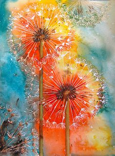 dandelion art - love the whispy white against the colours!