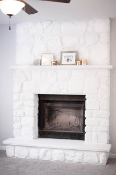 Whitewash Stone Fireplace - New Picture of Home Interior 2020 Whitewash Stone Fireplace, Painted Stone Fireplace, White Wash Fireplace, Stone Fireplace Designs, Stone Fireplace Makeover, Fireplace Update, Paint Fireplace, Fireplace Remodel, Fireplace Surrounds