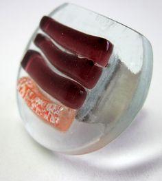 vidro Incolor/vermelho/vinho base Metal  n 21 3,5 cm diam R$39,00