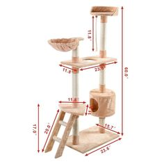 "New 60"" Cat Tree Tower Condo Scratcher Furniture Kitten Pet House Hammock 