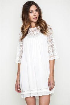 Peek of Lace Dress in White