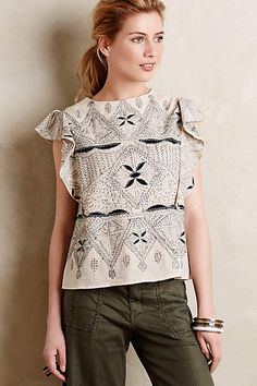 Fluttered Jumelle Blouse -  hoss intropia anthropologie.com