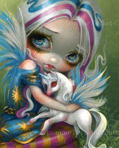 Twilight Delight fairy pegasus unicorn art print by Jasmine Becket-Griffith fantasy pegacorn winged horse baby faery Amy Brown, Fairy Pictures, Gothic Fairy, Unicorn Art, White Unicorn, Beautiful Fairies, Eye Art, Fairy Art, Big Eyes