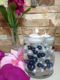 Easy DIY Floating Pearl Centerpiece 90pc Navy Blue/White