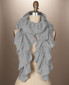 cashmere ruffle scarf - looks cuddly and grey would be a nice fit with what I wear.