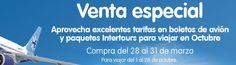 Venta Especial Interjet del 28 al 31 de marzo 2014  Venta Especial Interjet:Aprovecha excelentes tarifas en boletos de avión y paquetes Intertours, compra del 28 al 31 de marzopara viajar del 1 al 28 de octubre de 2014. Términos y Condiciones:  Fechas de compra: del 28 al 31 de Marzo o hasta a... -> http://www.cuponofertas.com.mx/oferta/venta-especial-interjet-del-28-al-31-de-marzo-2014/