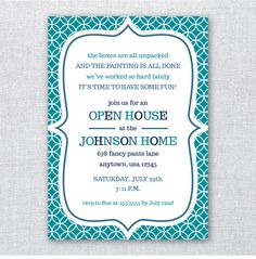 Set of 10 Printed Invitations - Open House