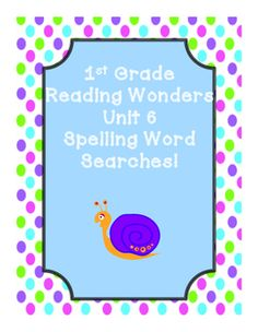 This includes word searches for First Grade Reading Wonders Unit 6 spelling words!Stories:Click, Clack, Moo Cows That TypeMeet RosinaRain SchoolLissy's FriendsHappy Birthday U.S.A.!Also includes a spelling word search for all unit 6 spelling words!This is a great and fun way for the students to review spelling words!
