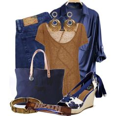 The Candy Bar ~Navy & Brown~ by gangdise on Polyvore