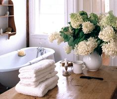fresh flowers everywhere - nothing like the aroma during a relaxing bath