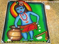 Diwali Rangoli , Kolam , Designs Images: Rangoli designs of krishna & radha