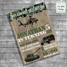 Birthday party invitation kids army camouflage invite customizable military trucks party digital printable invitation DIY I13108