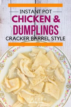 Instant Pot Chicken and Dumplings - Similar to Cracker Barrel's! You have to try this Instant Pot chicken and dumpling recipe--it reminds me of what Cracker Barrel serves! Plus, these were easy to make and didn't take all day to cook! Best Pressure Cooker, Pressure Cooker Chicken, Instant Pot Pressure Cooker, Pressure Cooker Recipes, Pressure Cooking, Best Instant Pot Recipe, Instant Recipes, Instant Pot Dinner Recipes, Best Chicken And Dumplings