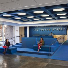 Library at Princeton University by Joel Sanders.  The ceiling is like our rectangles, but emphasize them with lights.