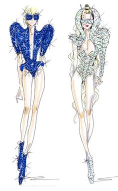 Lady Gaga Monster Ball Costume Sketches by Giorgio Armani