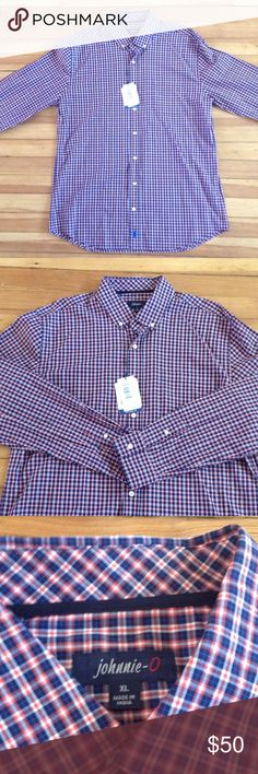 Brand new Johnnie-O button down plaid shirt. NWT Johnnie-O West Coast Prep red and blue plaid button down. Johnnie-O Shirts Casual Button Down Shirts