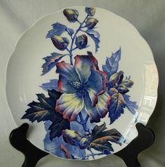 Antique 19C Aesthetic Movement Blue Transferware Hibiscus Plate Brown Westhead & Moore Antique Transferware Victorian Plate