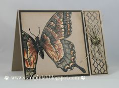 handmade card ... kraft base with black and browns ... like this card layout ... off the edge stampin of the huge swallowtail ... bleaching on the butterfly before some coloring ... side panel with trelis, decorative brad and twine ... Stampin' Up!