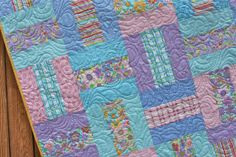Pastel Floral Baby Girl Quilt Spring Meadow by JennyMsQuilts