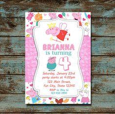 Invitación del cumpleaños Peppa Pig Peppa Pig partido por TDADesign Peppa Pig Teddy, Cumple Peppa Pig, Pig Party, 1st Birthdays, Girl Birthday, Rsvp, Alice, Invitations, Fun