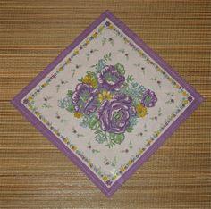 Purple Rose Floral Bouquet Handkerchief Vintage #hankie #buttonitupvintage