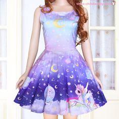 Pastel galaxy unicorn - cute kawaii skater dress - sd6