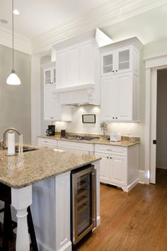 White cabinets with not-black countertops