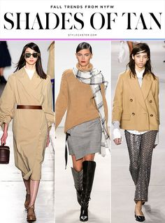 The 12 Best Fall 2016 Trends From New York Fashion Week | StyleCaster  Karen Walker; Marissa Webb; Michael Kors (ImaxTree) Shades of Tan  Expect to see tons of pants, knits, skirts, and—our favorite—outerwear done up in varying shades of tan, perhaps the chicest, most classic color there is, from muted khaki to soft camel.