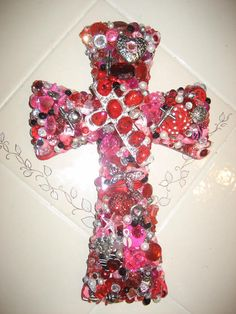Wooden Wall Cross in Jewels by cthorses66 on Etsy, $65.00
