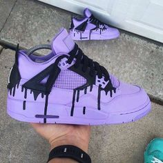 huge discount 8c2b3 a606b ♡Purple Nikes w black ink drip
