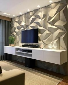 Best TV Wall Living Room Ideas Decor On A Budget « kenebae. Pooja Room Design, Home Room Design, Foyer Design, House Design, Tv Wall Decor, Modern Wall Decor, Home Living Room, Living Room Decor, Dressing Room Design